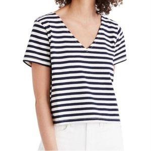 Madewell Setlist Boxy Striped Tee Navy & White XS